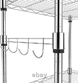 Homdox 5 Tier Steel Wire Shelving Unit on Wheels, Chrome Shelves for Garage Kitch