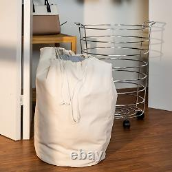 Honey-Can-Do HMP-02108 Steel Canvas Rolling Laundry Hamper Chrome