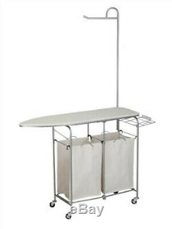 Honey Can Do Laundry Center with 2 Sorters and Ironing Board, Chrome/White