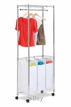 Honey-Can-Do SRT-01154 Urban Rolling Laundry Center, Chrome, Triple-Sorter