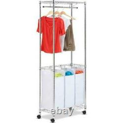 Honey Can Do Urban Laundry Center with 3 Removable Sorters, Chrome/White