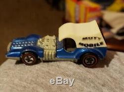 Hot Wheels Redline Mutt Mobile Chrome Blue with white dogs 1970 HK Nice