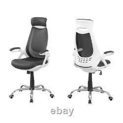 Indigo Home Office Chair, White/Grey Mesh/Chrome High-Back Exec I7269