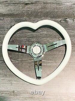 JDM White Heart Shaped Steering Wheel, ABS Grip, White, Steel, Chrome, 3-Spoke