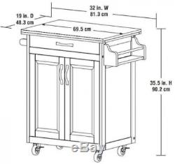 Kitchen Cart On Wheels Island Natural Solid Wood Top Utility Cabinet Spice Rack