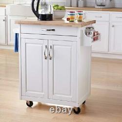 Kitchen Cart Storage Rolling Wheels Rack Shelf Island Wood Organizer Serving NEW