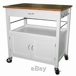 Kitchen Island Cart Natural Butcher Block Bamboo Top Storage Cabinet Wheeled