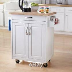 Kitchen Island Cart Rolling Wood Islands White On Wheels With Storage Movable