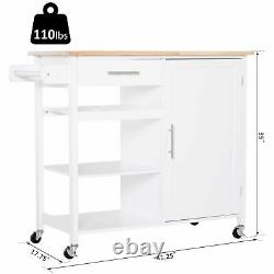 Kitchen Island Cart Rolling on Wheels Utility Storage Trolley Large Countertop