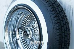 LOWRIDER WIRE WHEELS 13X7 REVERSE CHROME 100 SPOKE + White Wall Tires