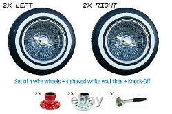 LOWRIDER WIRE WHEELS 14X7 REVERSE CHROME 100 SPOKE + White Wall Tires