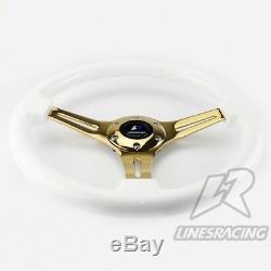 LR 14 Wood Grain Steering Wheel 6 Bolts 1.75 Dish Gold Chrome Spoke+HORN WHITE
