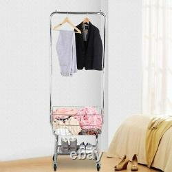 Laundry Butler Utility Cart Storage Basket Rolling Organizer Hanger Rack Hamper