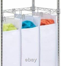 Laundry Sorter with Hanger Wheels 4 Caster Adjustable Triple Sorter White 3 Bags