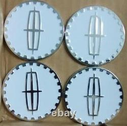 Lincoln Wire Wheel Chips Emblems 4 White & Chrome Metal Size 2.25 Zenith Style