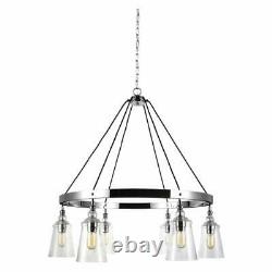 Loras 6-Light Chrome Modern Transitional Wagon Wheel Hanging Chandelier With Clear