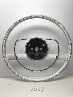 Mercedes 100 111 112 113 108 109 6.3 3.5 OEM Ivory Steering wheel & chrome ring