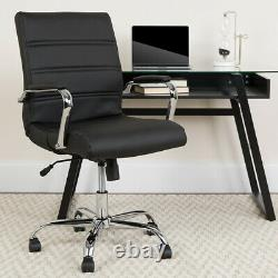 Mid-Back Black LeatherSoft Executive Swivel Office Chair withChrome Base &Arms