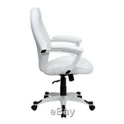 Mid-Back White LeatherSoft Tapered Back Executive Swivel Office Chair Arms
