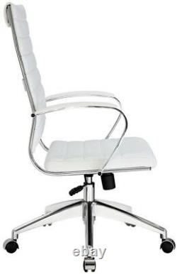 Modern Office Desk Chair High Back Swivel with 5 Caster Dual-Wheel Base, White