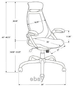 Monarch Specialities Office Chair White / Grey Mesh / Chrome High-Back Exec