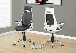 Monarch Specialties Mesh/Chrome High-Back Executive Office Chair, White/Grey