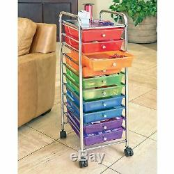 NEW Rolling Storage Organization 10 Shelves Plastic Drawers Wheeled Craft Cart