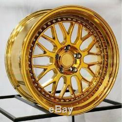 NEW SET OF(4) ESR WHEELS SR01 19x10.5 5x114.3 +22 VACUUM GOLD CHROME