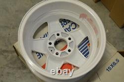 NEW Set of 4 VISA White and Chrome 15x6.5 Wheels NOS