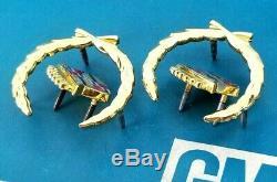 NOS 80s 90s CADILLAC 24K GOLD ROOF CREST & WREATH EMBLEM SET SAIL PANEL GM TRIM