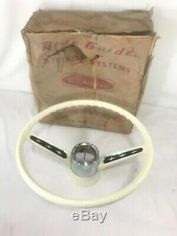 NOS Kiekhaefer Mercury Ride Guide Boat Steering Wheel 16 White Chrome 2 Spoke