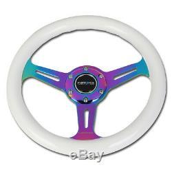 NRG 31cm White Wood Grain Grip Neo Chrome 3-Spokes Steering Wheel ST-310WT-MC