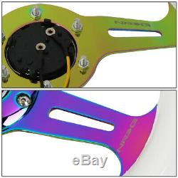 NRG 31cm White Wood Grain Grip Neo Chrome Spoke Steering Wheel withHorn Button