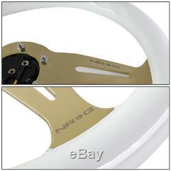 NRG 350MM WHITE WOOD GRAIN GRIP CHROME GOLD 3-SPOKE STEERING WHEEL WithHORN BUTTON