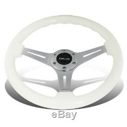 NRG 35cm Chrome 2Deep Dish Spoke Glow In Dark Wood Grip Steering Wheel White