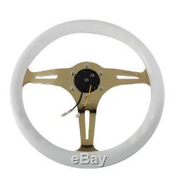 NRG 35cm White Wood Grain Grip Chrome Gold Spoke Steering Wheel withHorn Button