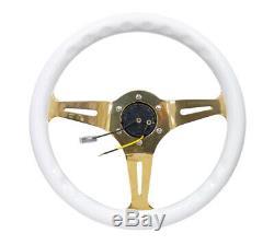 NRG Classic Wood Grain Steering Wheel (350mm) White Grip withChrome Gold 3-Spoke C