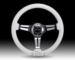 NRG Glow in the Dark Luminor White Wood Steering Wheel 350mm Chrome ST-015CH-YG