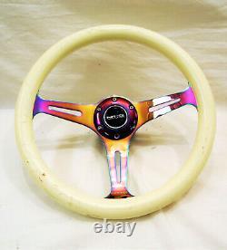 NRG Steering Wheel 350mm Luminor WHITE & GLOW In The Dark Wood NeoChrome Spokes