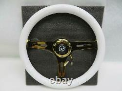 NRG Steering Wheel Classic Wood 350MM White Chrome Gold 3 Spoke ST-015CG-WT