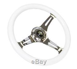 NRG Steering Wheel GLOW IN THE DARK Classic Wood 350MM Chrome Center ST-015CH-GL