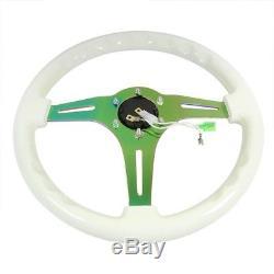 NRG White Wood Grain/Neo Chrome 3 Spokes Deep Dish 6-Bolt 350mm Steering Wheel