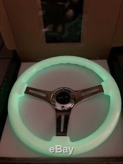 NRG Woodgrain Steering Wheel 350mm Gloss White Glow In The Dark Chrome 3 Spoke