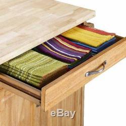 Natural Kitchen Trolley Cart Island Wheel Storage Prep Table Utility Cabinet