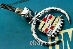 New 80 92 Cadillac Fleetwood Brougham Hood Ornament Header Panel Nos Emblem Gm