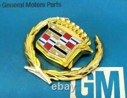 Nos 89 93 Cadillac Gold Deville Fleetwood Trunk Lock Cover Crest Wreath Emblem
