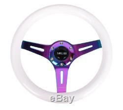 Nrg 310mm Neo Chrome Steering Wheel 3 Spoke Center White Wood St-310wt-mc