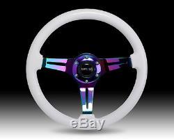 Nrg 350mm White Wood Neo Chrome Spoke Steering Wheel Universal