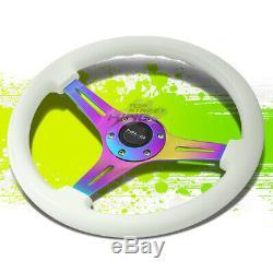 Nrg Aluminum 350mm Steering Wheel Purple Neo Chrome Spoke Glow-in-the-dark White