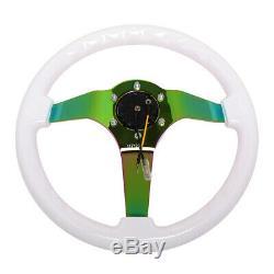 Nrg Reinforced 350mm 3deep Neo Chrome 3-spoke White Wood Grain Steering Wheel